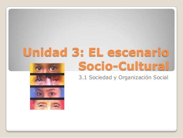 Unidad 3: EL escenario Socio-Cultural 3.1 Sociedad y Organización Social