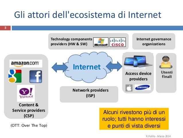 3. L' ecosistema di Internet e la neutralità della rete Slide 2