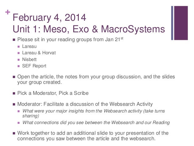 + February 4, 2014 Unit 1: Meso, Exo & MacroSystems  Please sit in your reading groups from Jan 21st  Lareau  Lareau & ...