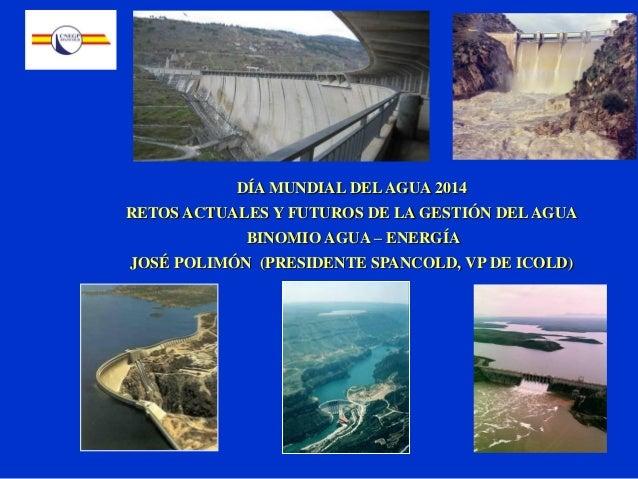 DÍA MUNDIAL DELAGUA 2014 RETOS ACTUALES Y FUTUROS DE LA GESTIÓN DELAGUA BINOMIO AGUA – ENERGÍA JOSÉ POLIMÓN (PRESIDENTE SP...