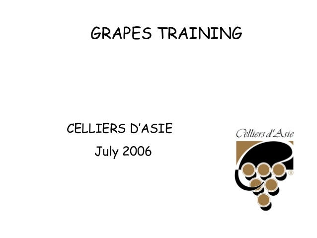 GRAPES TRAINING CELLIERS D'ASIE July 2006