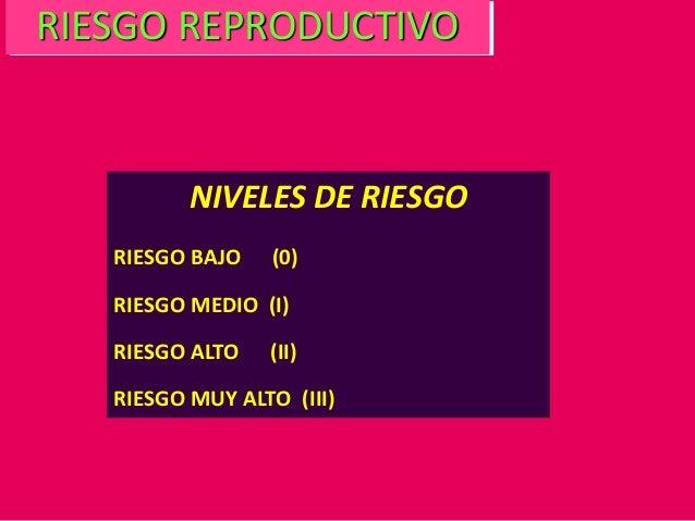 NIVELES DE RIESGO RIESGO BAJO (0) RIESGO MEDIO (I) RIESGO ALTO (II) RIESGO MUY ALTO (III) RIESGO REPRODUCTIVO