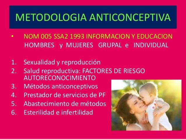 METODOLOGIA ANTICONCEPTIVA • NOM 005 SSA2 1993 INFORMACION Y EDUCACION HOMBRES y MUJERES GRUPAL e INDIVIDUAL 1. Sexualidad...