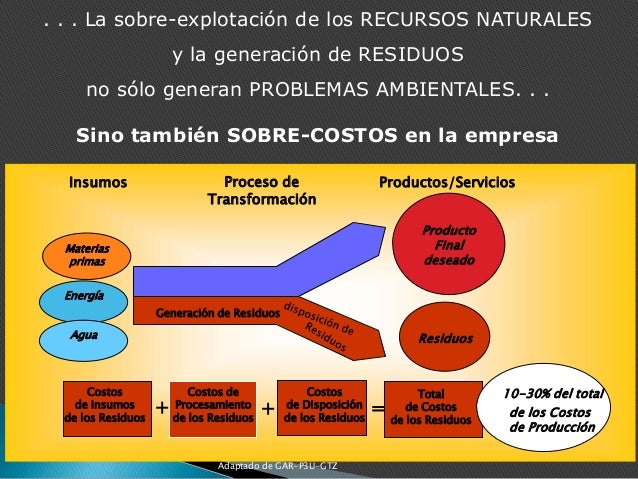 Generación de Residuos Materias primas Energía Agua Insumos Producto Final deseado Residuos Total de Costos de los Residuo...