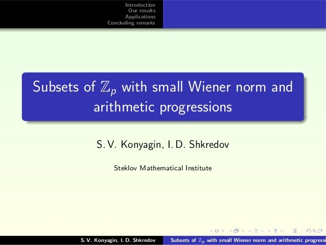 Introduction Our results Applications Concluding remarks Subsets of Zp with small Wiener norm and arithmetic progressions ...