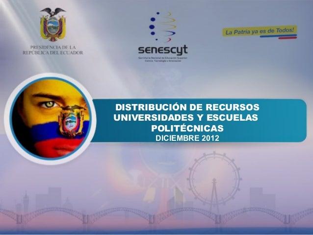 DISTRIBUCIÓN DE RECURSOS UNIVERSIDADES Y ESCUELAS POLITÉCNICAS DICIEMBRE 2012