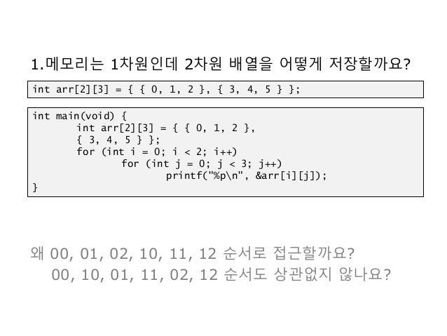 1.메모리는 1차원인데 2차원 배열을 어떻게 저장할까요? 왜 00, 01, 02, 10, 11, 12 순서로 접근할까요? 00, 10, 01, 11, 02, 12 순서도 상관없지 않나요? int arr[2][3] = {...