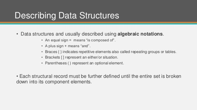 """Describing Data Structures • Data structures and usually described using algebraic notations. • An equal sign = means """"is ..."""