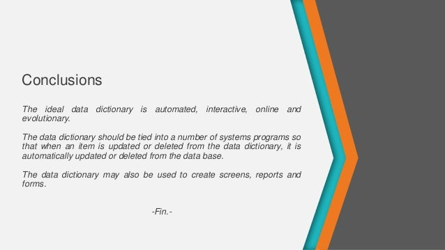Systems Analyst and Design -  Data Dictionary