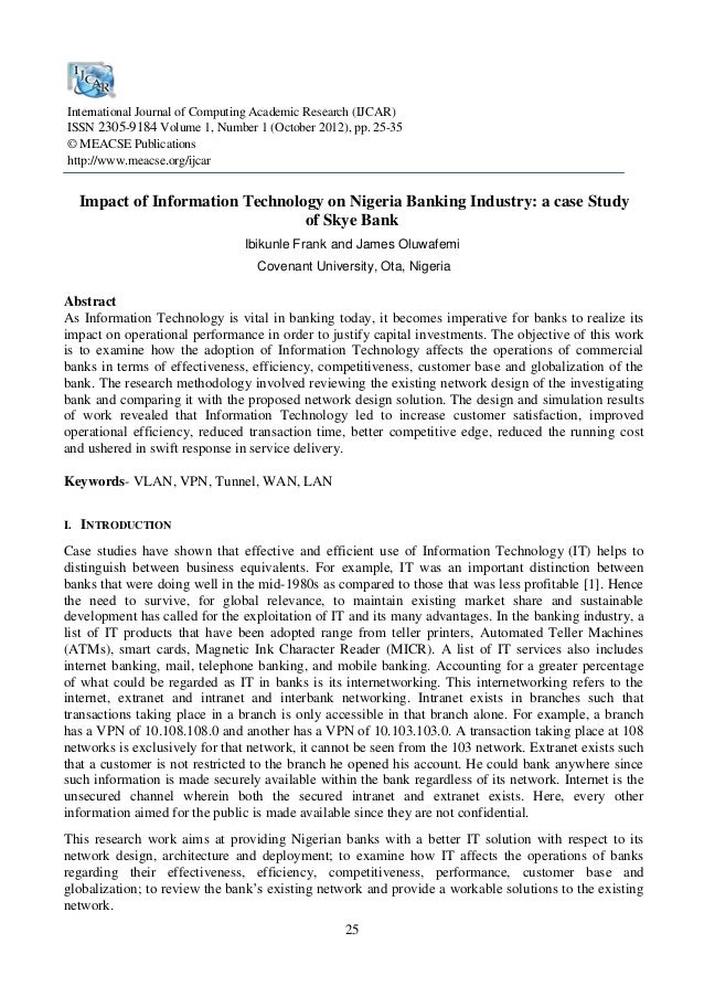 essay on information technology in banking sector Asia pacific journal of marketing and management review vol1 issue 1, september 2012, issn m 25 information technology in banking sector rajesh tiwari, cfa.