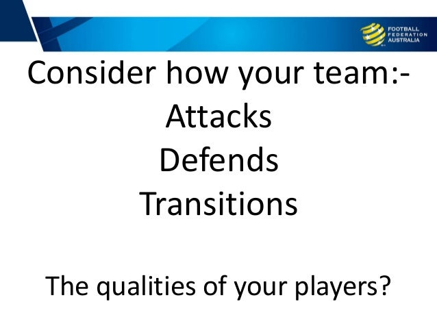 Training Consider how your team:- Attacks Defends Transitions The qualities of your players?