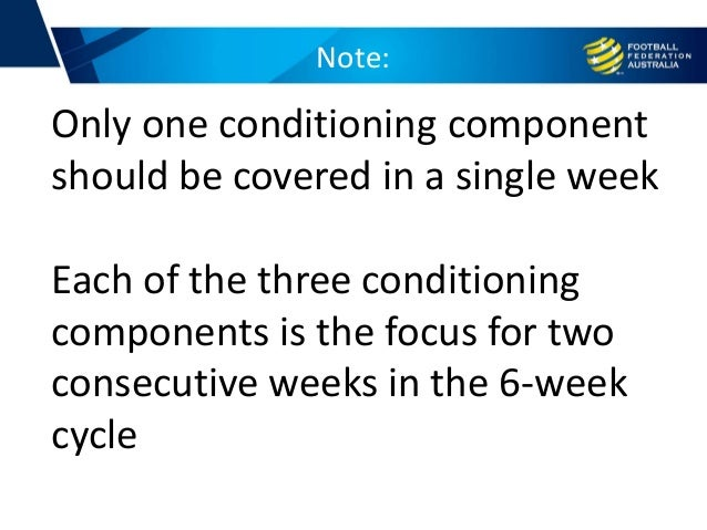 Note: Only one conditioning component should be covered in a single week Each of the three conditioning components is the ...