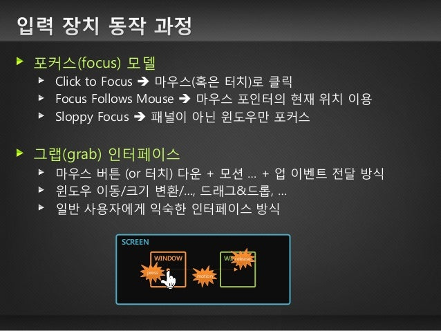 포커스(focus) 모델 Click to Focus  마우스(혹은 터치)로 클릭 Focus Follows Mouse  마우스 포인터의 현재 위치 이용 Sloppy Focus  패널이 아닌 윈도우만 포커스 그랩(gr...