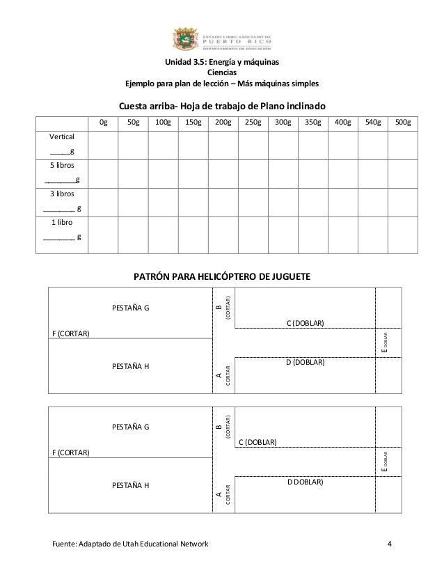 3.5 ejemplo para plan de lección más máquinas simples