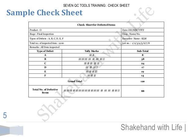 Seven Qc Tools Training Check Sheet