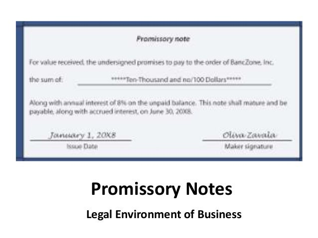 Promissory Notes Legal Environment Of Business ...  Examples Of Promissory Note