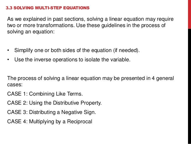 3.3 Solving Multi-Step Equations