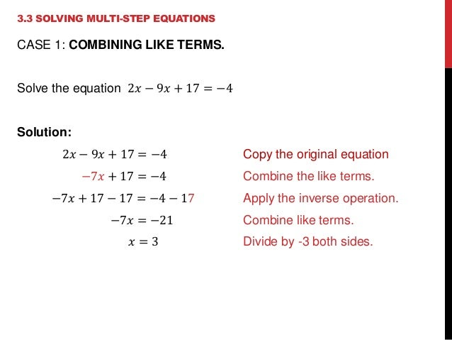 solve multi step equations