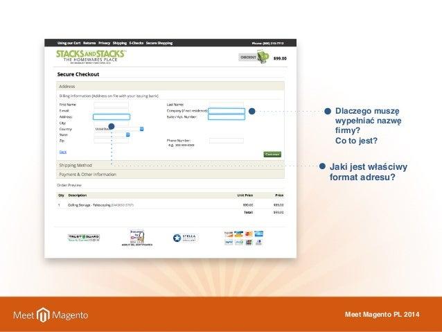 Dlaczego muszę  wypełniać nazwę  firmy?  Co to jest?  Jaki jest właściwy  format adresu?  Meet Magento PL 2014