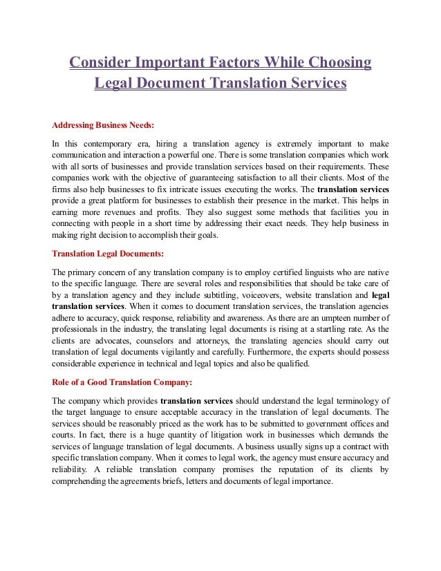 Consider Important Factors While Choosing Legal Document Translation - Legal documents for business