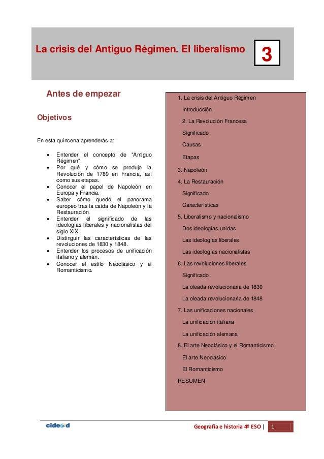 Geografía e historia 4º ESO | 1 La crisis del Antiguo Régimen. El liberalismo 3 Antes de empezar 1. La crisis del Antiguo ...