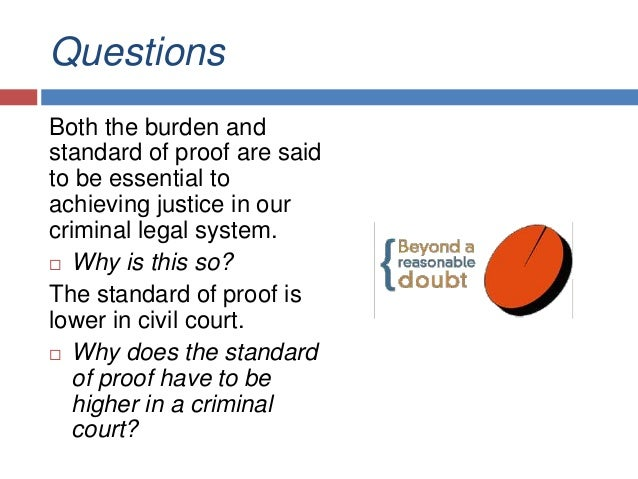 burden of proof and standard of proof essay Free essay: at the same time, an immoral person with a personal vendetta in mind who falsely accuses someone of a crime would have a very hard time getting a.