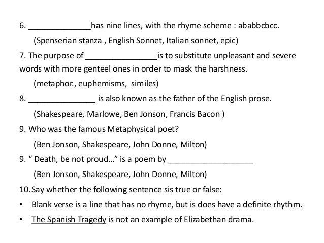 3. Elizabethan literature with questions