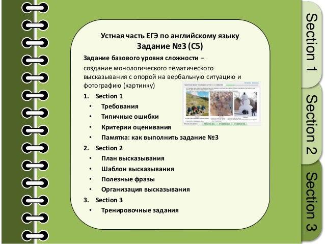 1 Устная часть ЕГЭ по английскому языку Задание №3 (С5) Задание базового уровня сложности – создание монологического темат...