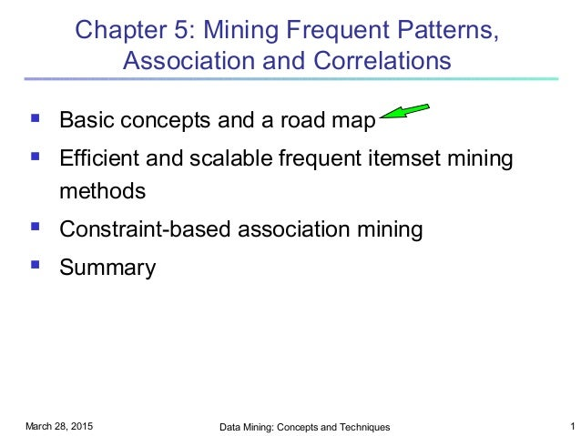 March 28, 2015 Data Mining: Concepts and Techniques 1 Chapter 5: Mining Frequent Patterns, Association and Correlations  ...