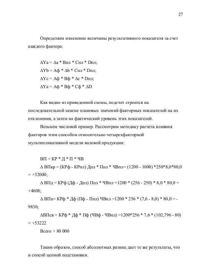 27 Определяем изменение величины результативного показателя за счет каждого фактора: ∆Ya = ∆а * Впл * Спл * Dпл; ∆Yb = Аф ...