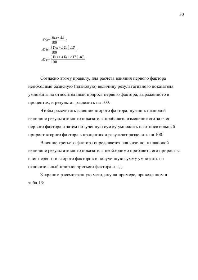 30 ΔYa= Yпл∗ΔА 100 ; ΔYb= (Yпл+ΔYa ) ΔB 100 ; ΔYc= (Yпл+ΔYa+ΔYb ) ΔC 100 Согласно этому правилу, для расчета влияния перво...