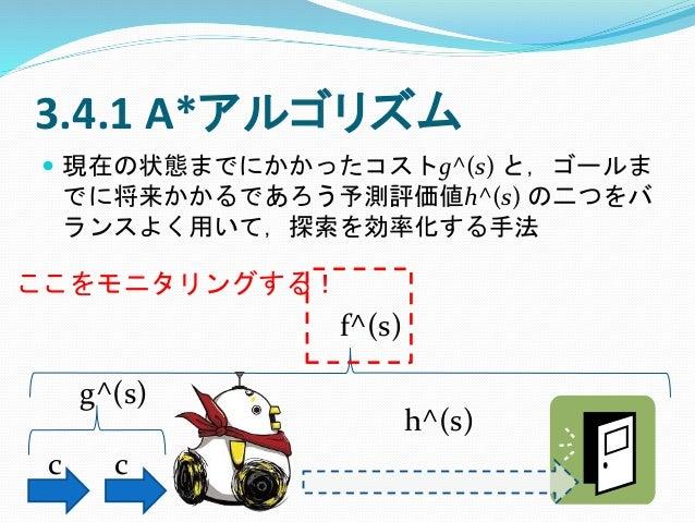 3.4.1 A*アルゴリズム  現在の状態までにかかったコストg^(s) と,ゴールま でに将来かかるであろう予測評価値h^(s) の二つをバ ランスよく用いて,探索を効率化する手法 c c g^(s) h^(s) f^(s) ここをモニタリ...