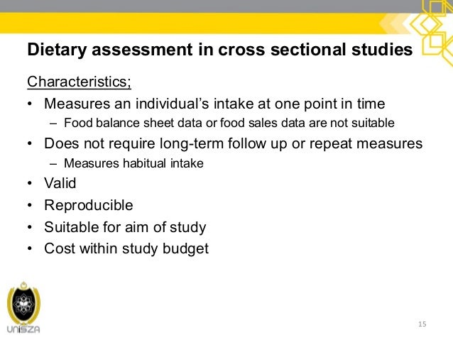PROPOSAL SUMMARY PAPERS AND PRESENTATION 15 Dietary Assessment In Cross Sectional Studies Characteristics