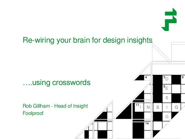 Re-wiring your brain for design insights ….using crosswords Rob Gillham - Head of Insight Foolproof