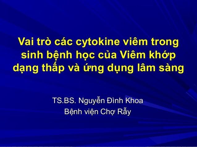 Vai trò các cytokine viêm trong sinh bệnh học của Viêm khớp dạng thấp và ứng dụng lâm sàng TS.BS. Nguyễn Đình KhoaTS.BS. N...