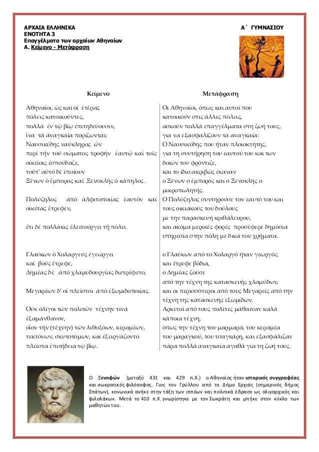 ΑΡΧΑΙΑ ΕΛΛΗΝΙΚΑ Α΄ ΓΥΜΝΑΣΙΟΥ ΕΝΟΤΗΤΑ 3 Επαγγέλματα των αρχαίων Αθηναίων Α. Κείμενο - Μετάφραση Κείμενο Μετάφραση Ο Ξενοφών...