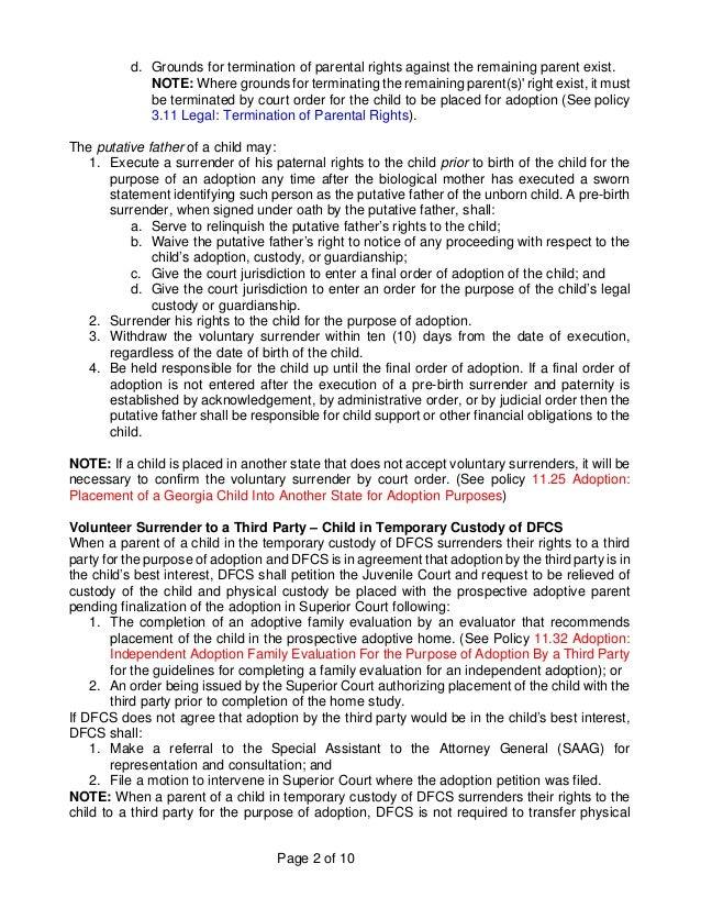 Relinquish Parental Rights Letter