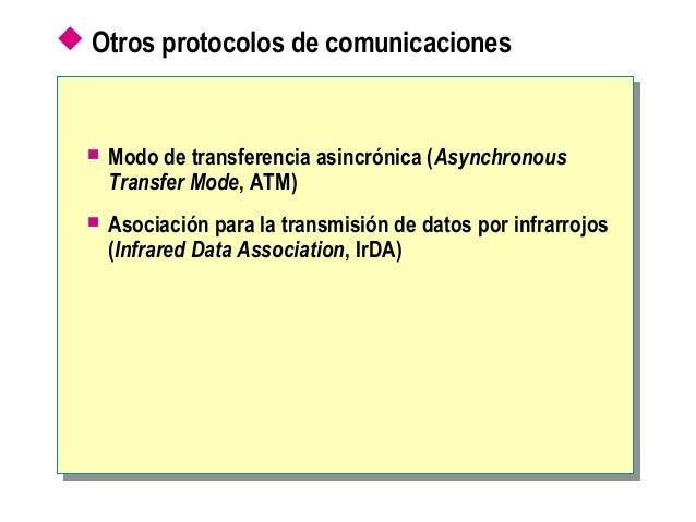  Otros protocolos de comunicaciones  Modo de transferencia asincrónica (Asynchronous Transfer Mode, ATM)  Asociación pa...
