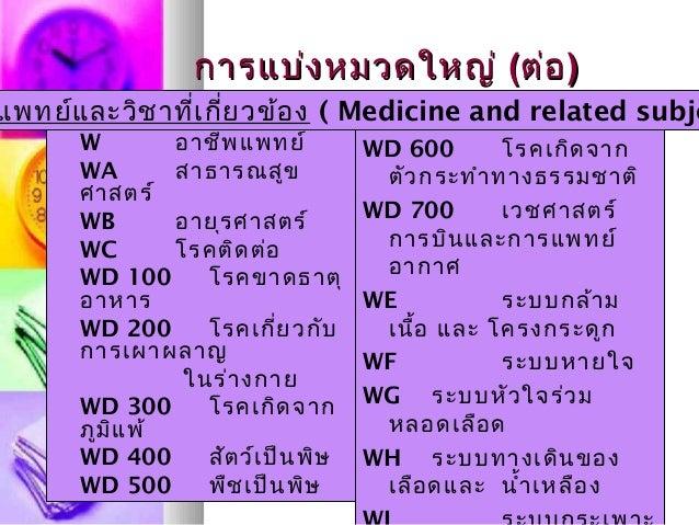 การแบ่งหมวดใหญ่การแบ่งหมวดใหญ่ ((ต่อต่อ)) W อาชีพแพทย์ WA สาธารณสูข ศาสตร์ WB อายุรศาสตร์ WC โรคติดต่อ WD 100 โรคขาดธาตุ อ...