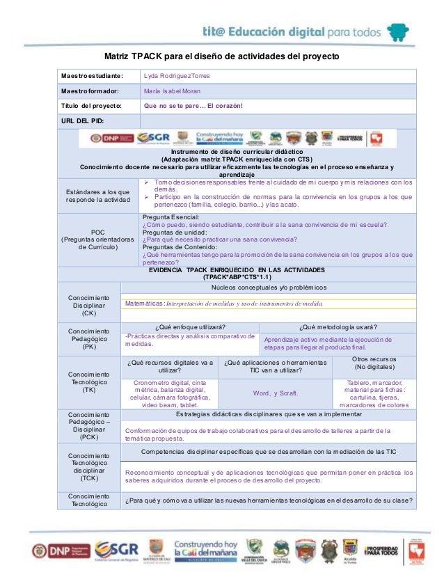 Matriz TPACK para el diseño de actividades del proyecto Maestroestudiante: Lyda RodriguezTorres Maestroformador: María Isa...