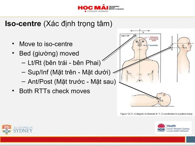 Iso-centre (Xác định trọng tâm) • Move to iso-centre • Bed (giường) moved – Lt/Rt (bên trái - bên Phai) – Sup/Inf (Mặt trê...