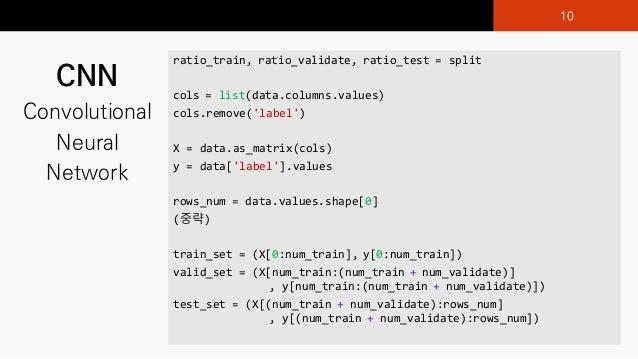 CNN Convolutional Neural Network ratio_train,)ratio_validate,)ratio_test =)split cols)=)list(data.columns.values) cols.rem...