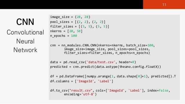 CNN Convolutional Neural Network image_size =)(28,)28) pool_sizes =)[(2,)2),)(2,)2)] filter_sizes =)[(5, 5),)(5, 5)] nkern...
