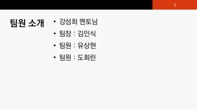 팀원 소개 • 강성희 멘토님 • 팀장 : 김인식 • 팀원 : 유상현 • 팀원 : 도회린 3