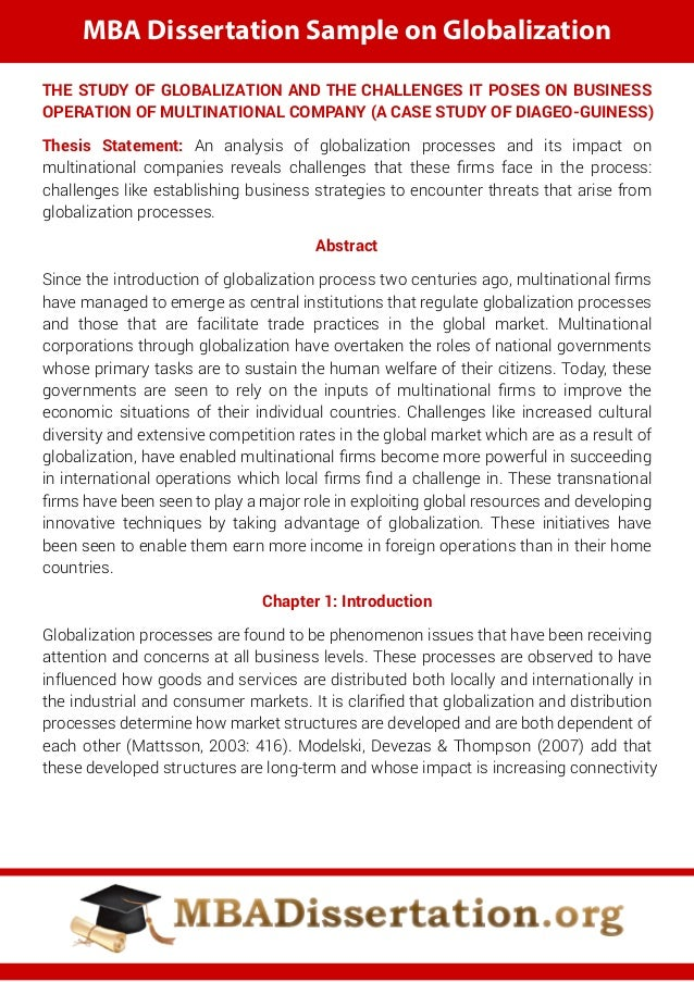 globalisation dissertation ideas