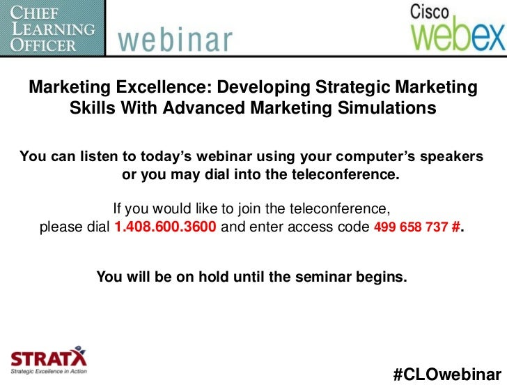 Marketing Excellence: Developing Strategic Marketing     Skills With Advanced Marketing SimulationsYou can listen to today...