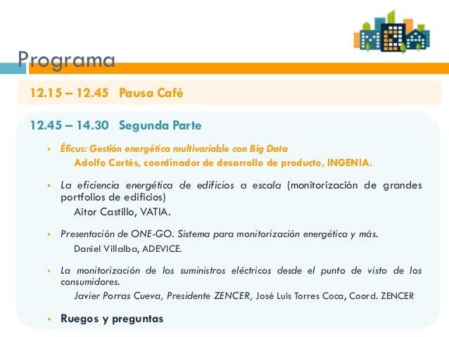 Programa 12.15 – 12.45 Pausa Café 12.45 – 14.30 Segunda Parte  Éficus: Gestión energética multivariable con Big Data Adol...