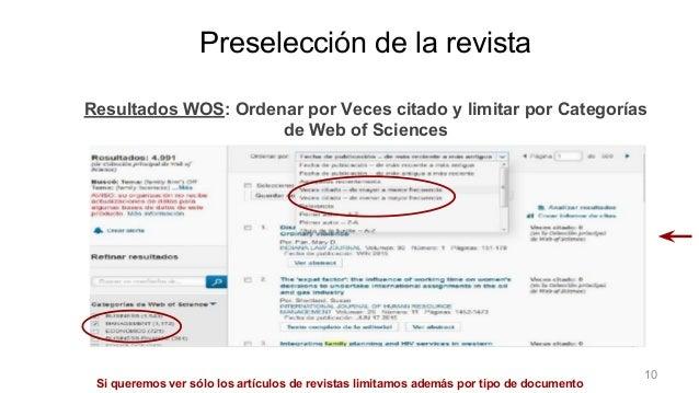 Preselección de la revistaResultados WOS: Ordenar por Veces citado y limitar por Categorías de Web of Sciences Si queremos...