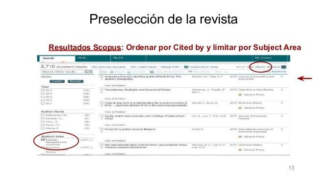 Resultados Scopus: Ordenar por Cited by y limitar por Subject Area Preselección de la revista 13