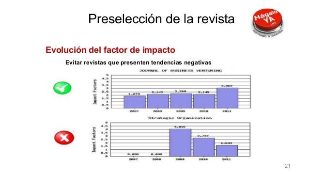 Evolución del factor de impacto Evitar revistas que presenten tendencias negativas Preselección de la revista 21